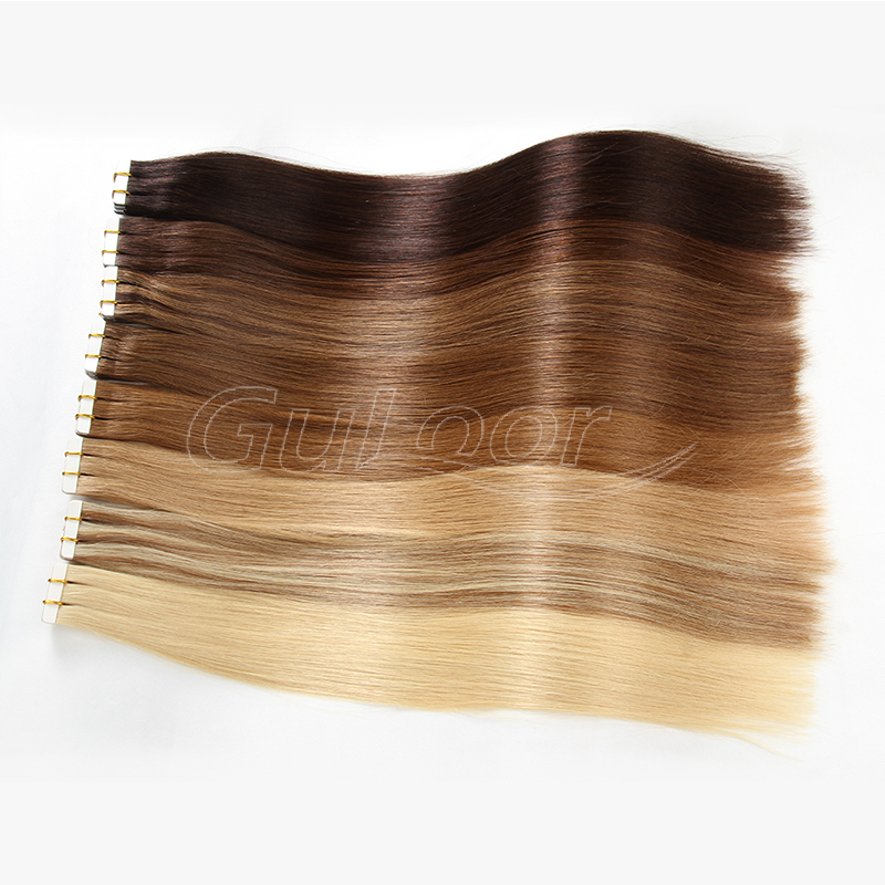 Full Cuticle 100% Russian Tape In Human Hair Extensions,Double Drawn Tape Hair Extensions