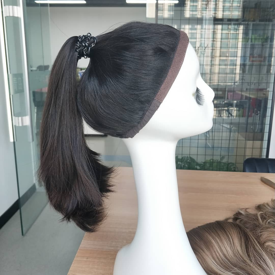 Silk Straight Unprocesessed Jewish Ponytail Wigs Half Wigs Sports Wigs