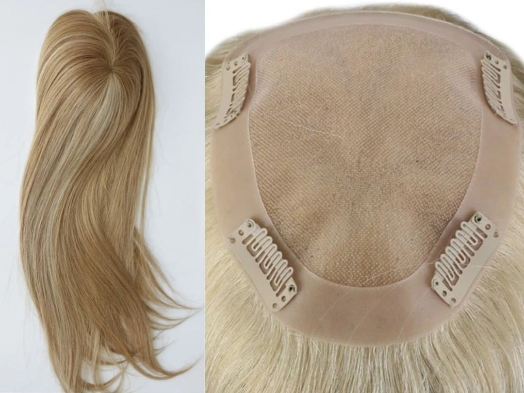 100% Real Human Hair Topper Mono Base Ashy Blonde ...