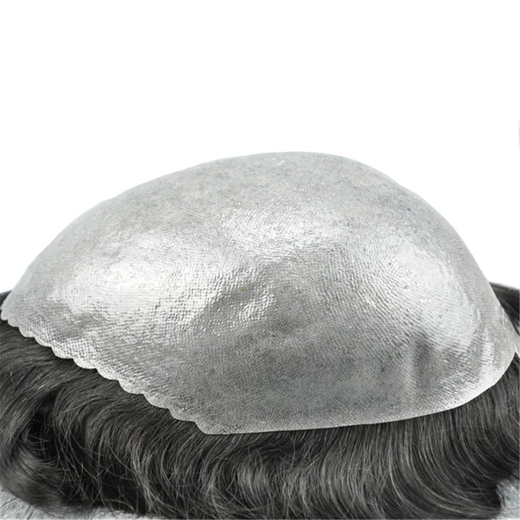 Mens Toupee Hairpiece Skin Human Hair Systems 5#