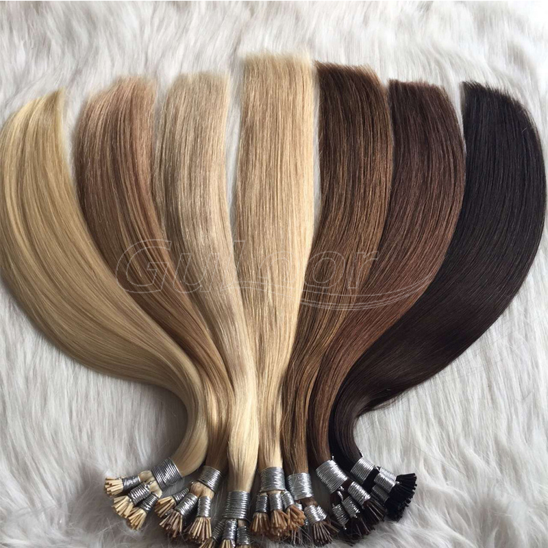 Cuticle aligned silky straight russian human hair I tip hair