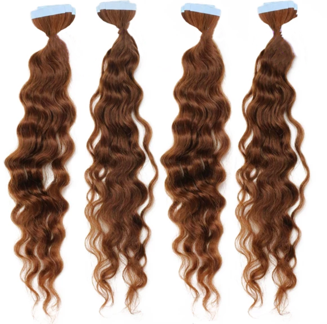 4 X Curly Tape In Hair Extension Bundle