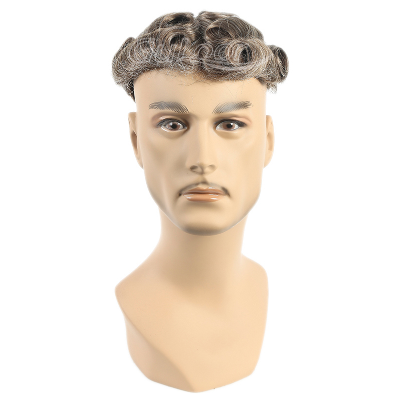 China Manufacture Fine Mono With PU All Around and Lace Front Stock Hairpieces for Men
