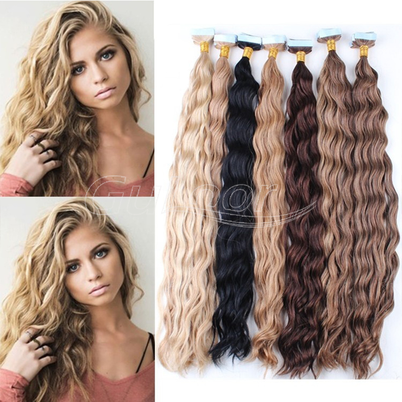 Wholesale 9A Russian Remy Tape Hair Extensions Double Drawn Tape In Hair Extensions Virgin Human Tape Hair