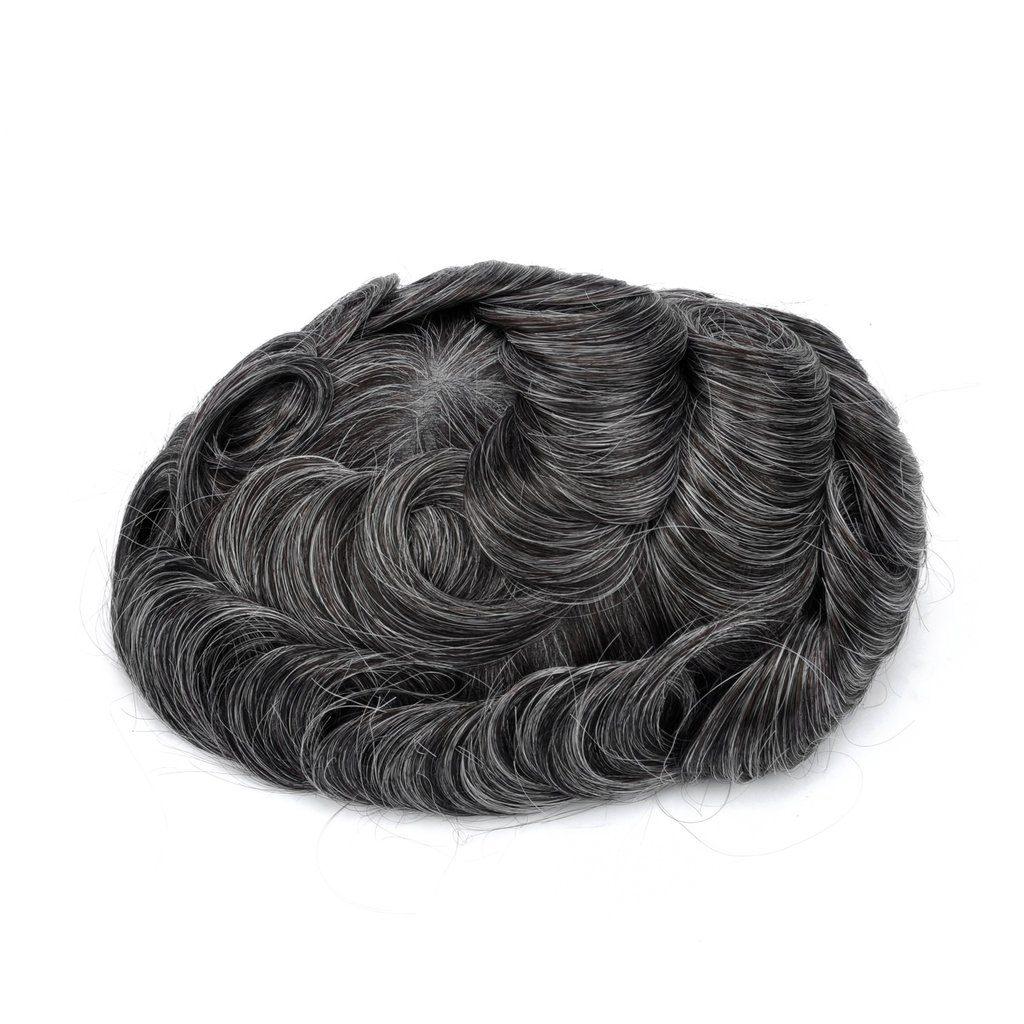 Mens Toupee Hairpiece Swiss Lace Hair Systems 1B30#