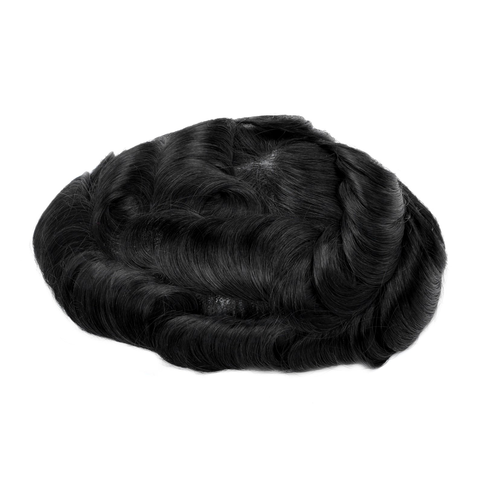 Mens Toupee Hairpiece Mirage Human Hair Systems 1#(Deep Black)