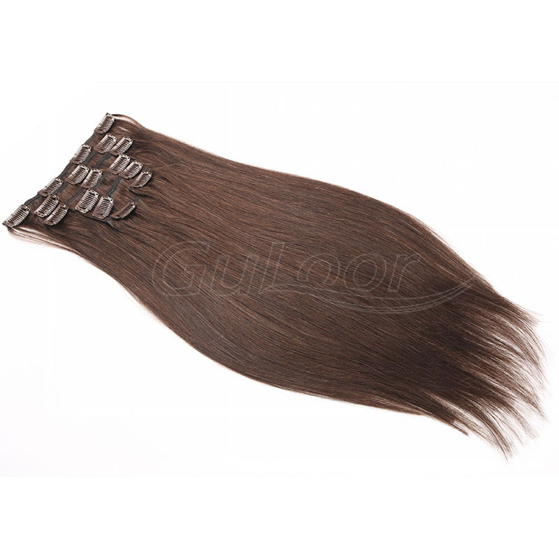 Wholesale 100% human hair colored virgin remy clip in hair extension