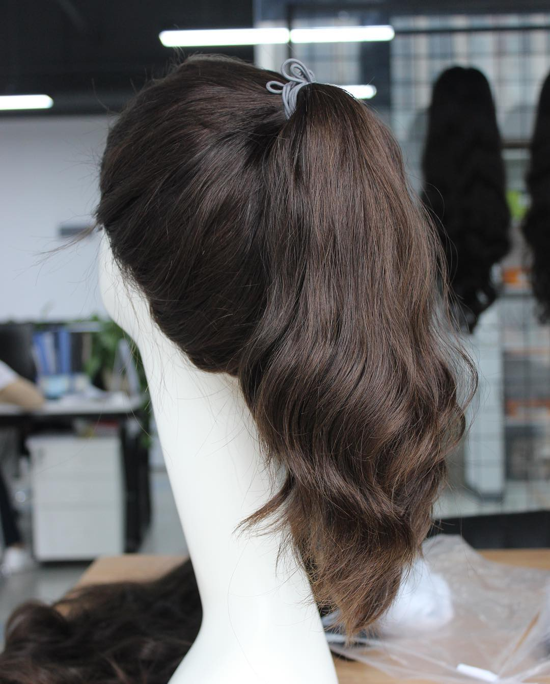 Dark Brown Color Pony Wigs Pony Fall For Jewish
