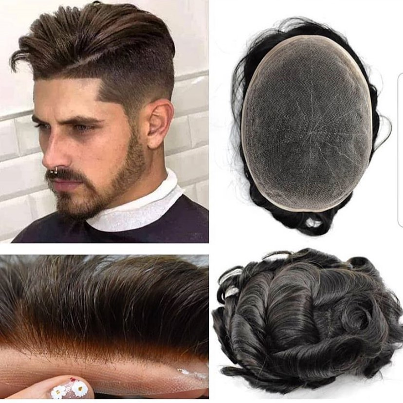 French Lace Hair Replacement 100% virgin Human Hair Men Toupee