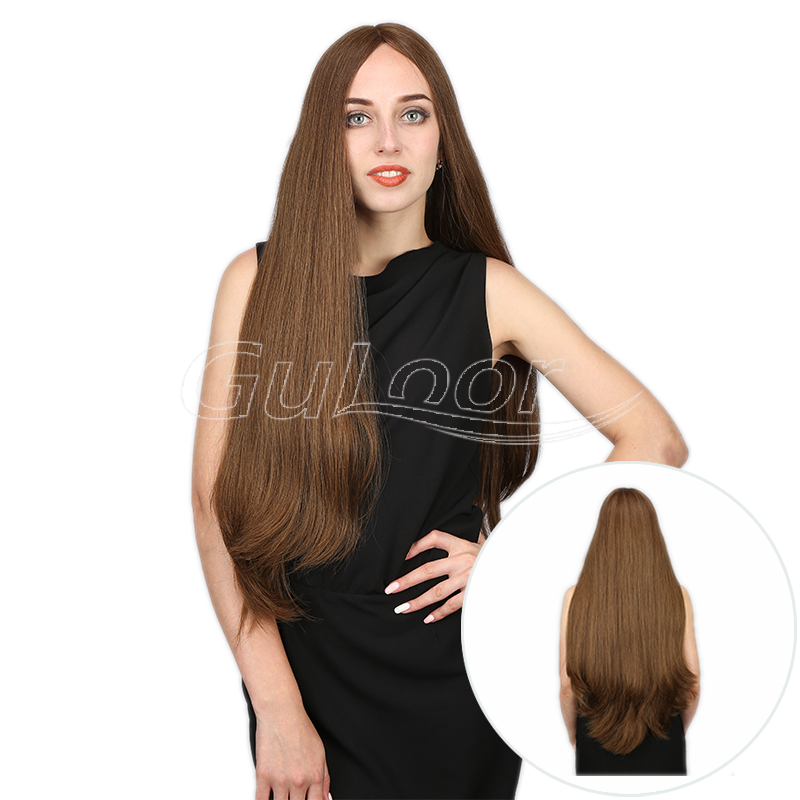Top Quality Medium Brown Silky And Smooth Human Hair Jewish Wig