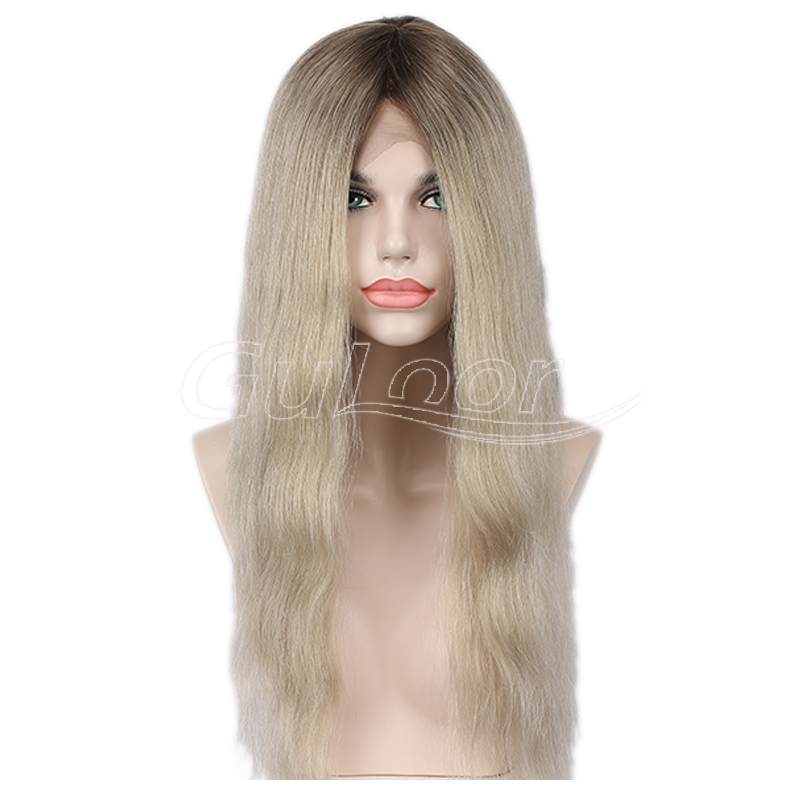 Ashy Blonde Ombre Color Natural Wave Full Lace Wig