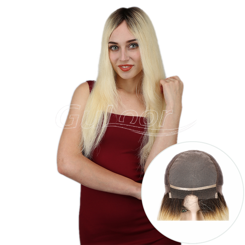 1B/613 Ombre Blonde Natural straight Mono Top Human Hair Wig